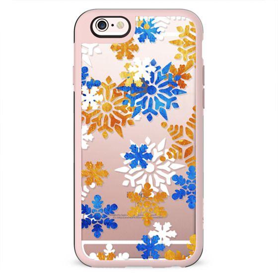 Blue white gold ice snowflakes