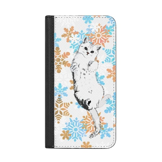 iPhone 6s Cases - White kitty and colourful painted snowflakes