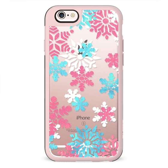 Blue pink watercolor snowflakes