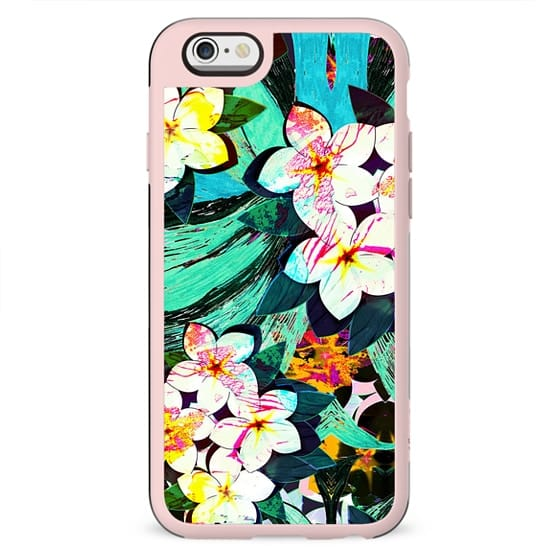 Painted tropical flowers colorful pattern