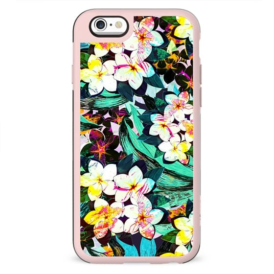 Painted tropical flowers bright pattern