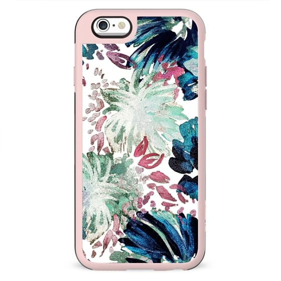 Pastel green tropical painted flowers abstract