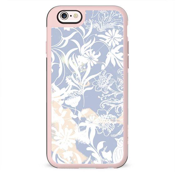 Pastel blue white romantic foliage and birds