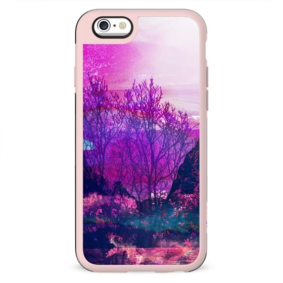magenta painted tree forest