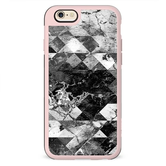 Marble cracked squares black and white