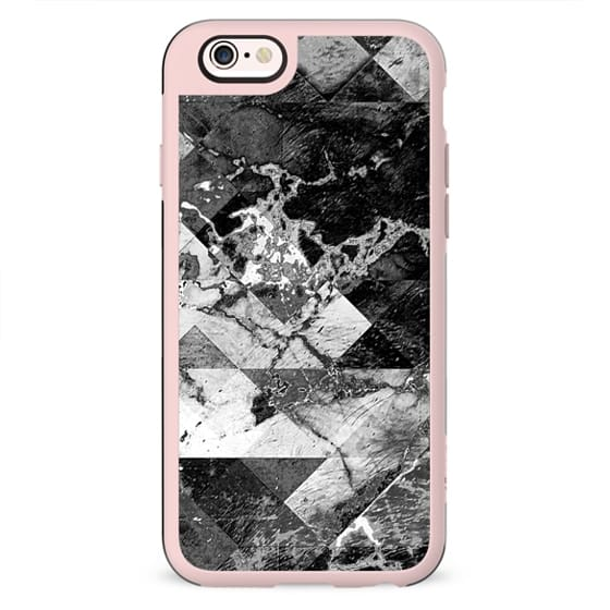 Marble cracked squares grunge black and white