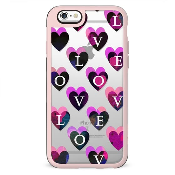 Love letters dark pink hearts clear