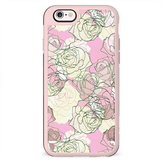 Pastel roses line art clear case