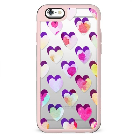 Playful watercolor hearts clear