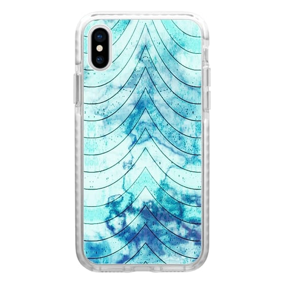 iPhone 7 Plus Cases - Blue white marble geometric waves