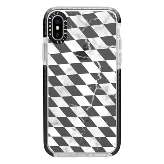 iPhone 6s Cases - Black and white marble checks cracked transparent