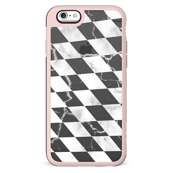 Transparent black and white marble checks pattern