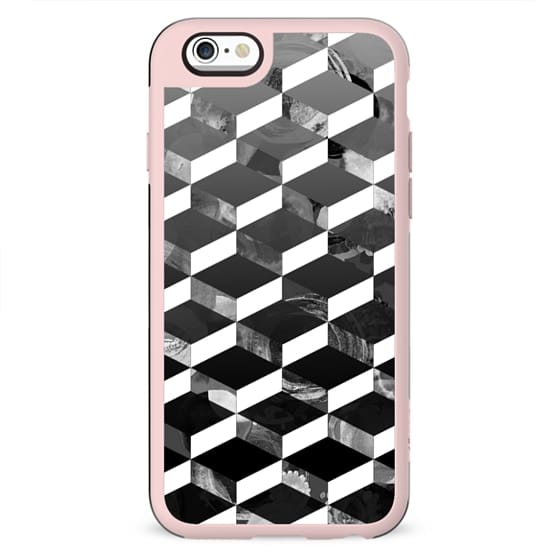 Monochrome marble 3D geometric