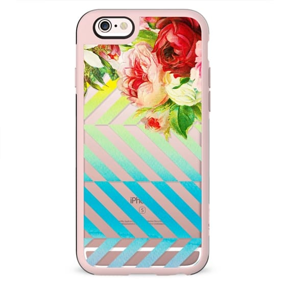 Vintage flowers and gradient dynamic stripes clear