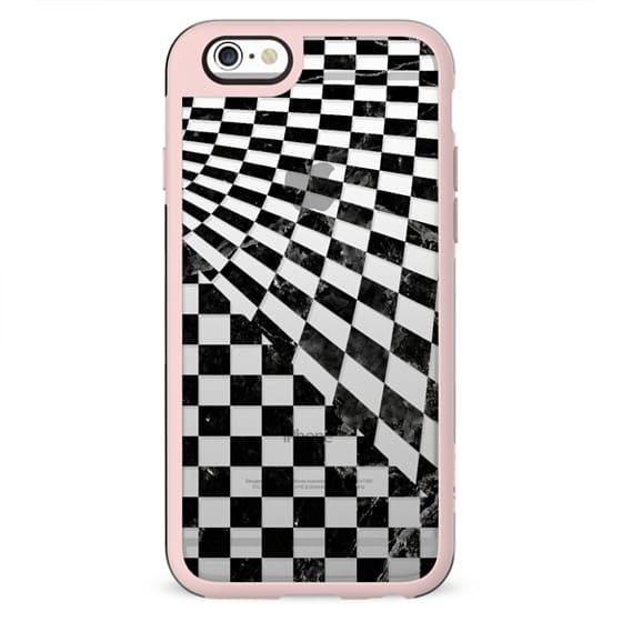 Black marble check pattern clear
