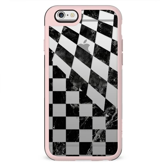 Black marble check pattern clear case