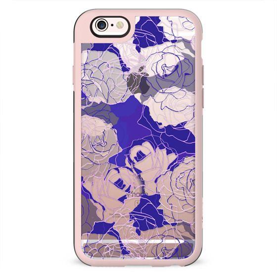 Dark purple blue line art roses transparent