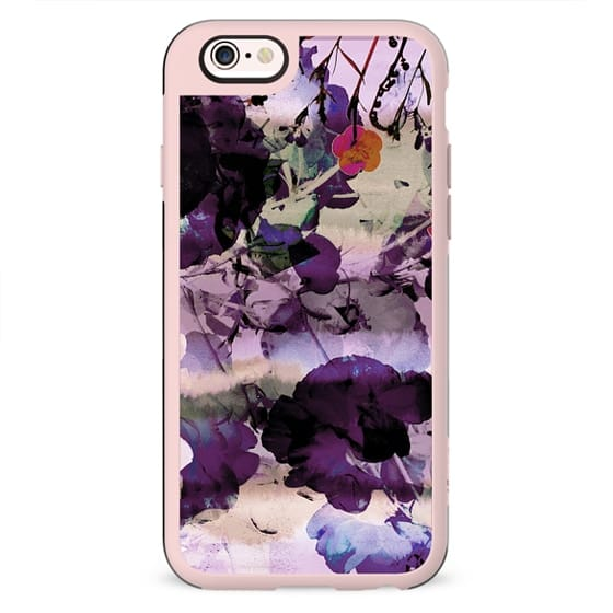 Watercolor painted flower garden dark purple petals