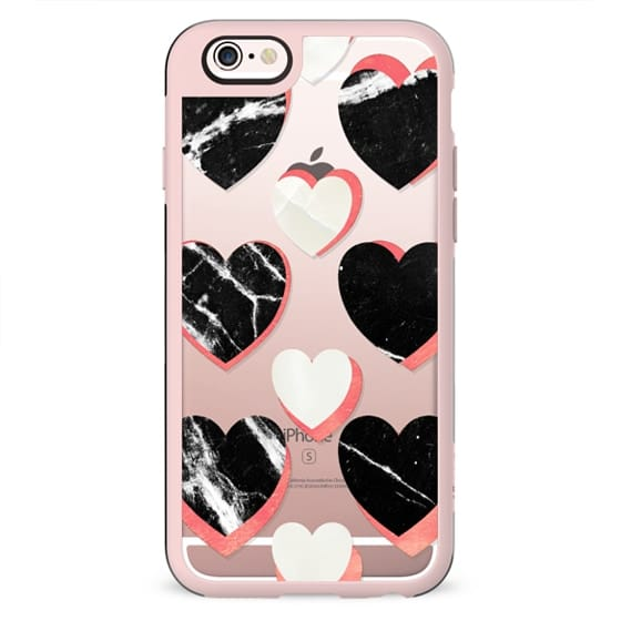 Marble hearts clear case