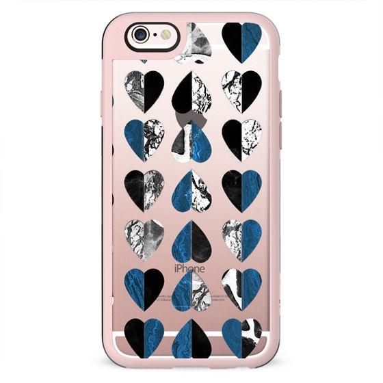 Marble stone hearts blue