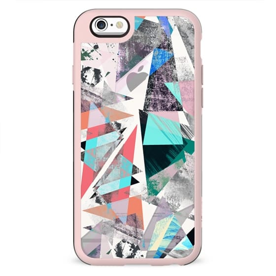 Textured vibrant colored triangles marble transparent