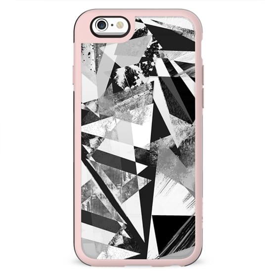 Textured black and white marble triangles transparent