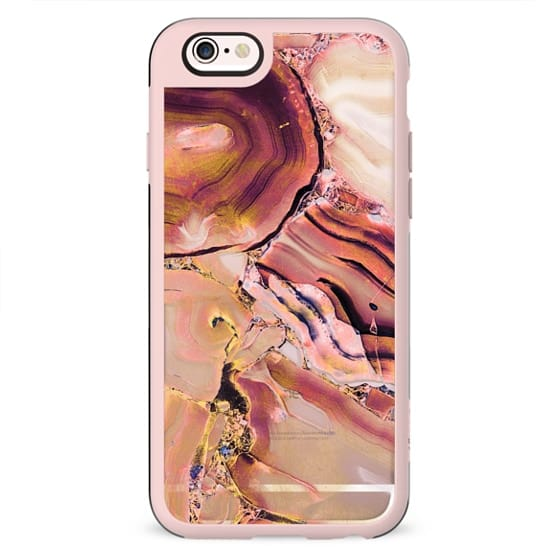 Pink golden transparent precious stone marble