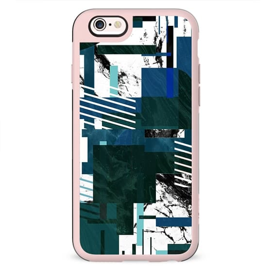 Marble geometric collage green blue