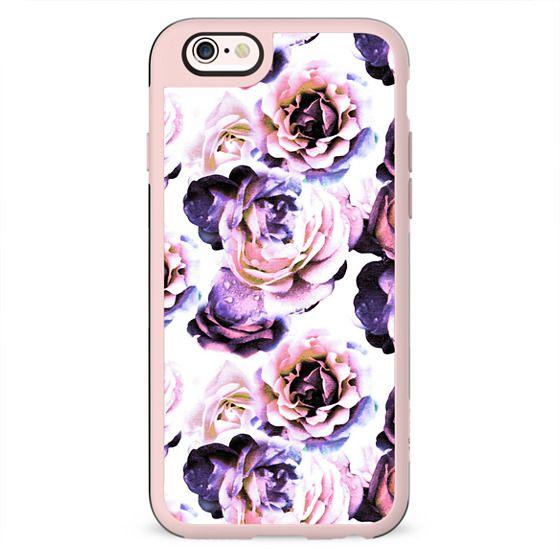 Purple pink roses petals painting