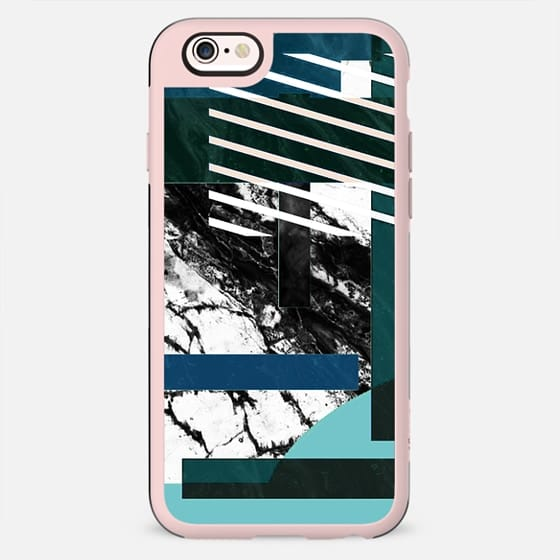 Monochrome marble and geometric collage - New Standard Case