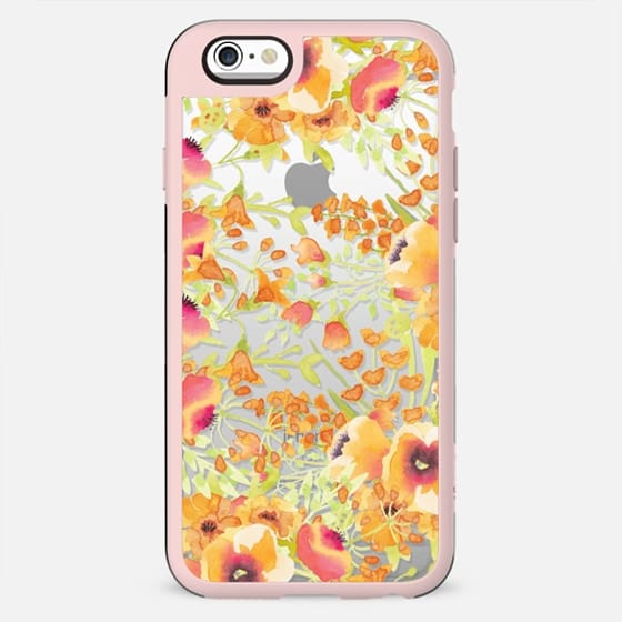 Orange watercolor flower painting clear case - New Standard Case