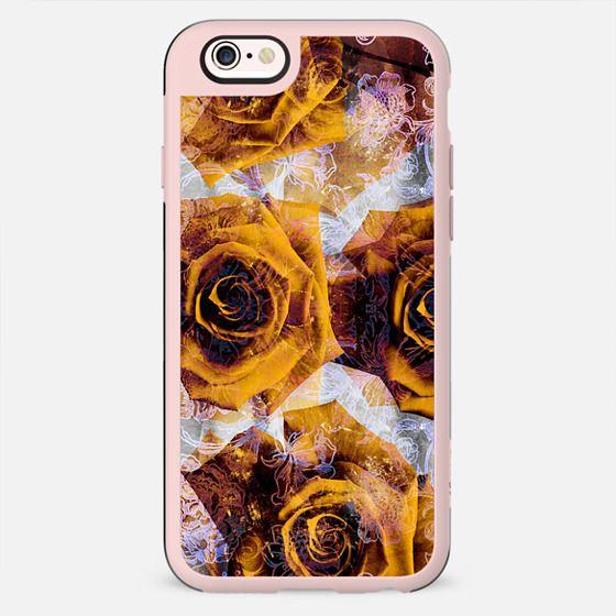 Golden rose petals and metallic flowers line art - New Standard Case