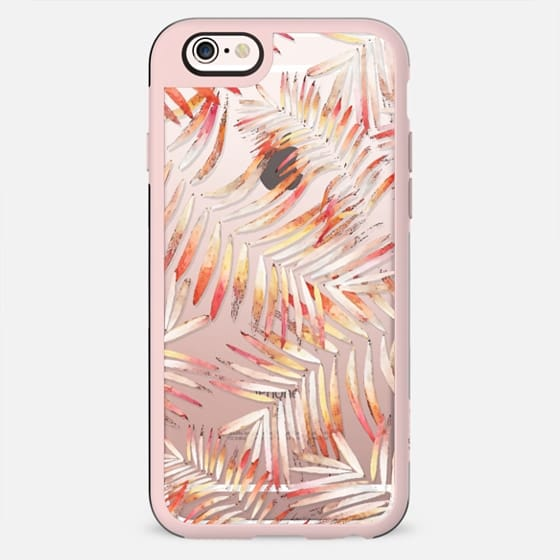 Orange yellow palm leaves clear