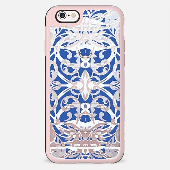 Blue white decorative damask foliage - New Standard Case
