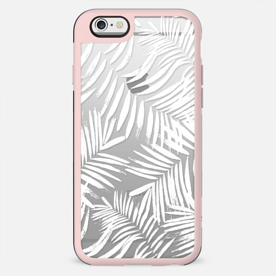 White brushed palm leaf clear case