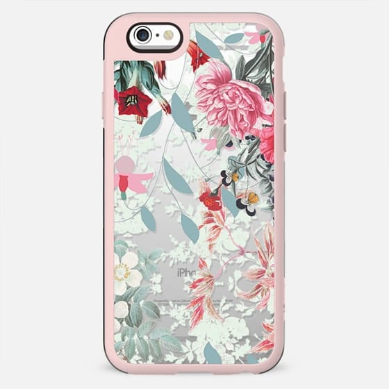 Romantic floral botanical illustration clear pink - New Standard Case
