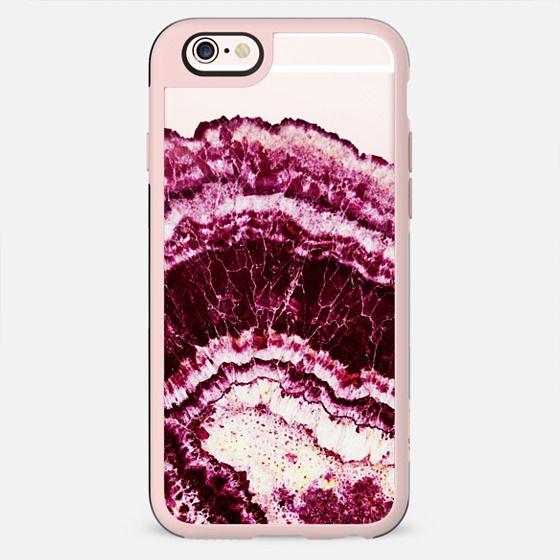 Burgundy marble cut clear case - New Standard Case