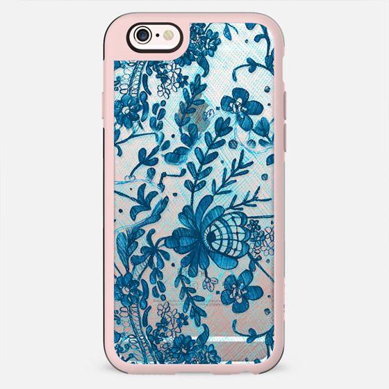 Blue flowers lace transparent print