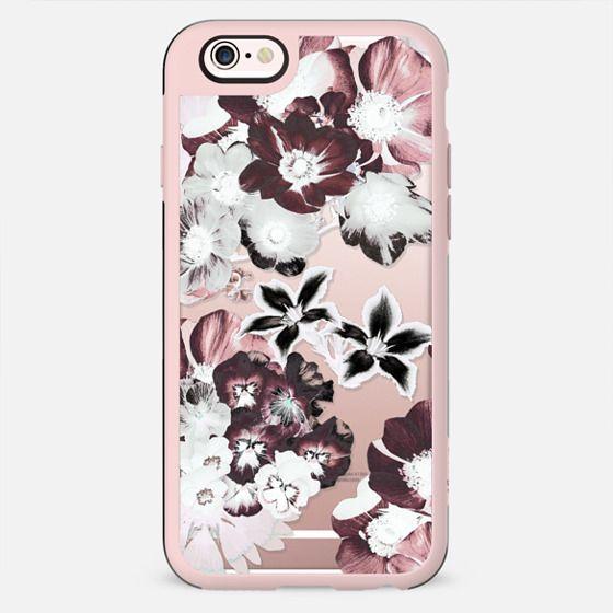 White burgundy flower petals clear case
