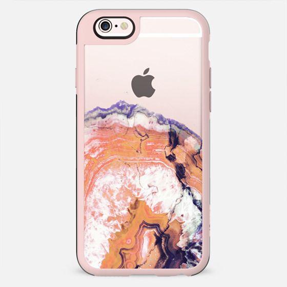 Orange agate marble cut clear case - New Standard Case