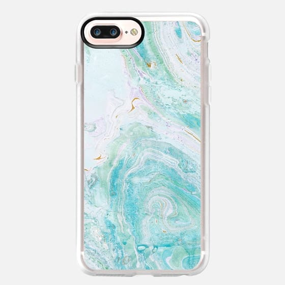 marble painting turquoise - Classic Grip Case