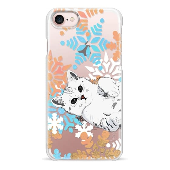 iPhone 7 Plus Cases - white kitty and painted snowflakes