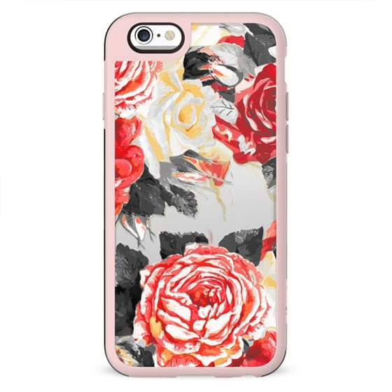 Desaturated red roses clear case