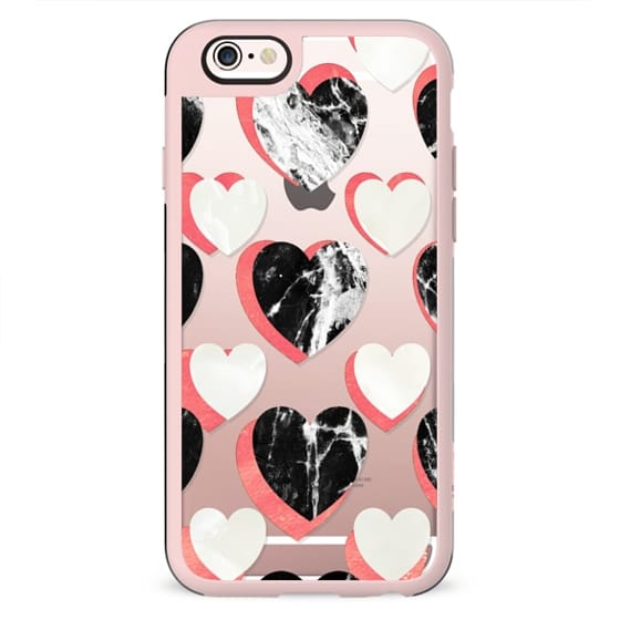 Marble 3d  hearts clear case