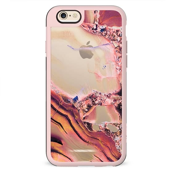 Pink golden transparent precious marble and crystals
