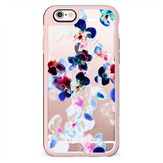 Transparent blue pink pansy petals girly print