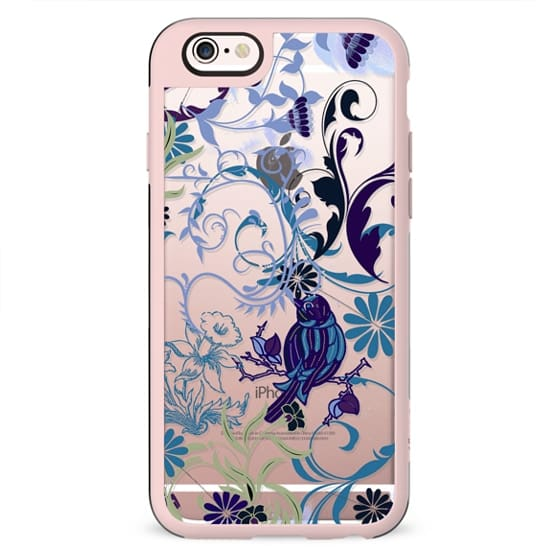 Bird, flowers, leaves blue clear case