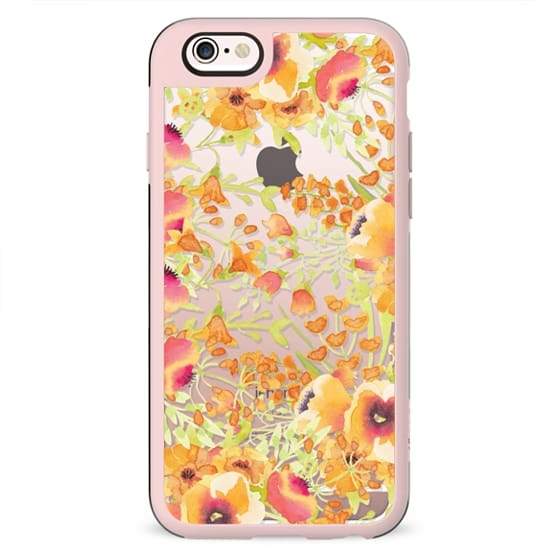 Orange watercolor flower painting clear case