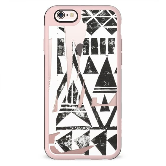 Black tribal triangles block print clear