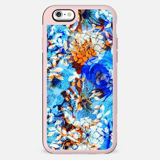 Oriental painted flower petals orange blue